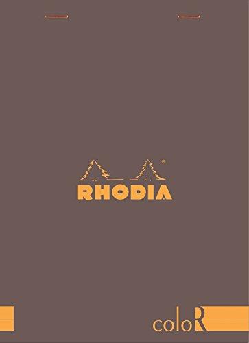 Rhodia 16963C Notizblock (liniert, 90 g, DIN A5 148 x 210 mm, elfenbeinfarbiges Papier, 70 Blatt, mikroperforiert) 1 Stück schokoladenbraun
