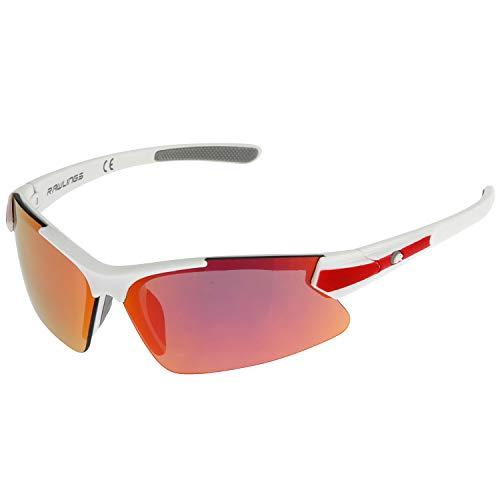 RAWLINGS Youth Sports Baseball Sunglasses Durable 100% UV Poly Lens, Shielded Lens - White / Red