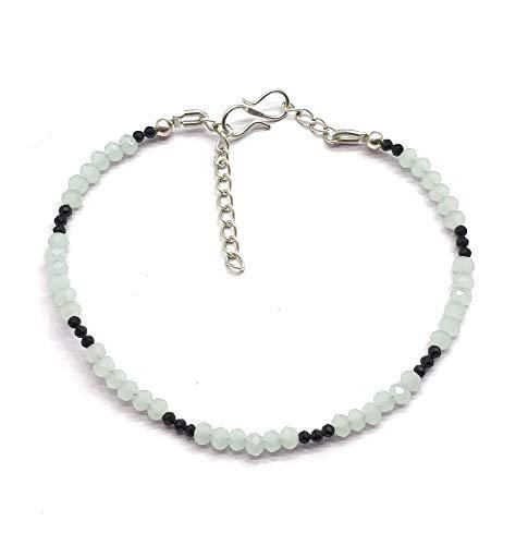 Pulsera de 17,7 cm ajustable Aqua Calcedony & Black Spinel 2-3 mm Rondelle Shape Faceted Cut Plated Link Chain Bracelet for Unisex women Teen Girls, hecha a mano en India.