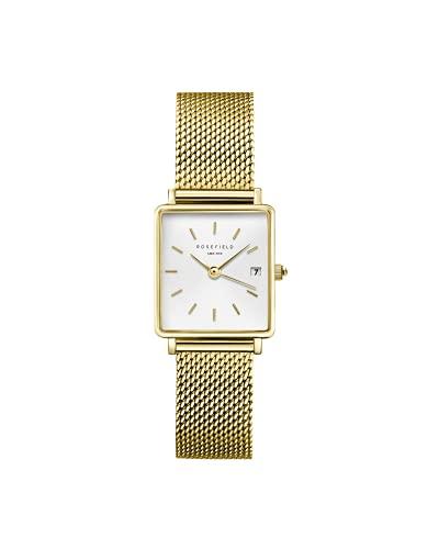 Rosefield Damenuhr The Boxy XS Gold 26 * 28 mm Quadratisches Gehäuse mit Weißem Zifferblatt und goldenem Band - QMWMG-Q039