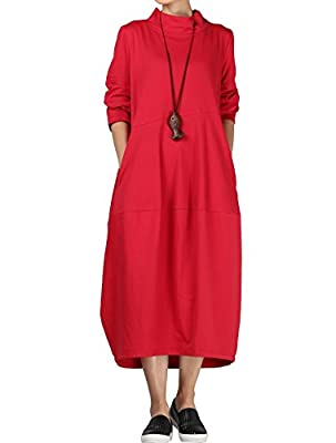 Mordenmiss Women's Autumn Turtleneck Long Baggy Dress with Pockets L Red from