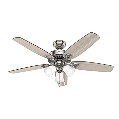 """Hunter Fan Company 51111 Builder Indoor Ceiling Fan with LED Light and Pull Chain Control, 52"""", Brushed Nickel Finish"""