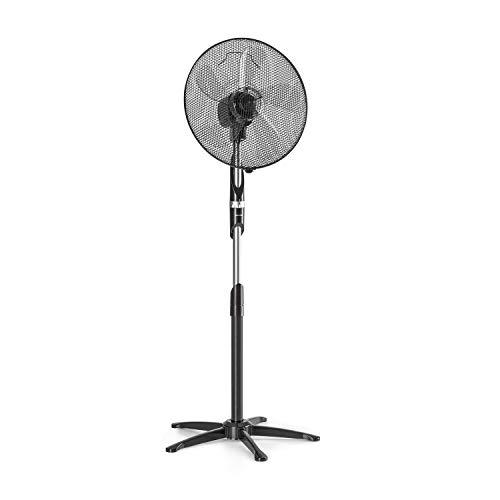 Klarstein Summer Vibe - Stand Fan, Tower Fan, Pedestal Fan, 16? (41 cm), 55 W, 2040m? / h, Switchable Oscillation 65 ?, 3 Speed Levels, Height Adjustable, Black