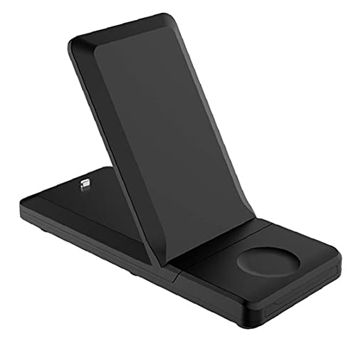 Tuimiyisou 3 en 1 Cargador inalámbrico H6 Carga rápida Soporte de estación de conexión para el Soporte Plegable 15W, Adecuado para Reloj Inteligente teléfono móvil Negro