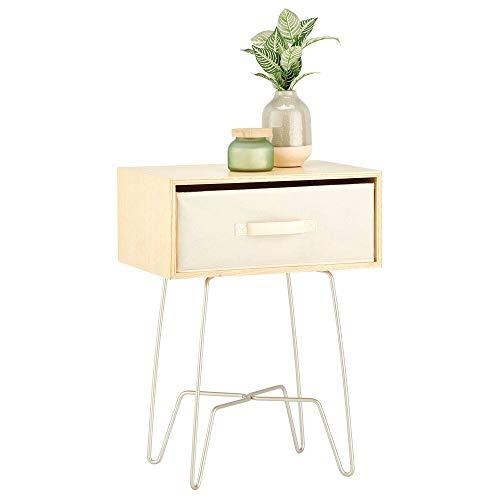 mDesign Mesita auxiliar de madera y metal pequeña – Elegante mesa auxiliar vintage para el salón o el dormitorio – Mesa de centro con moderno diseño de horquilla – beige y gris