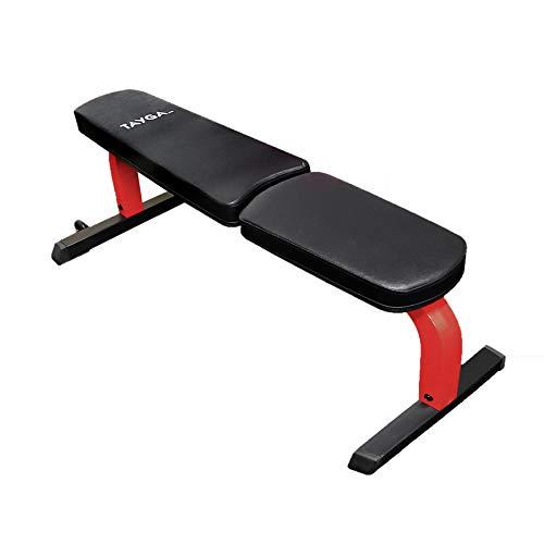 banco ejercitador athletic works con barra y pesas negro fabricante Tayga