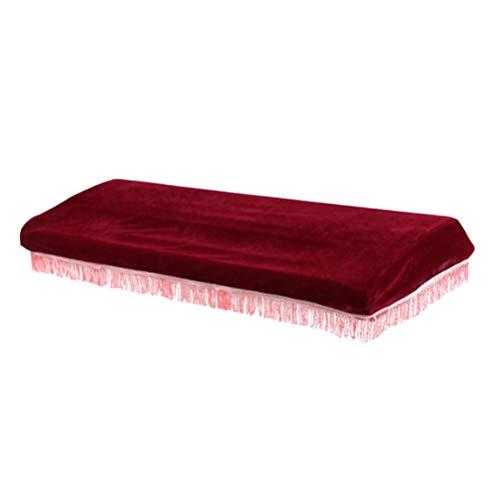 OUNONA 61 Copri-polveri per pianoforte elettronico con un proteggi coulisse per tastiera di pianoforte (rosso vino)