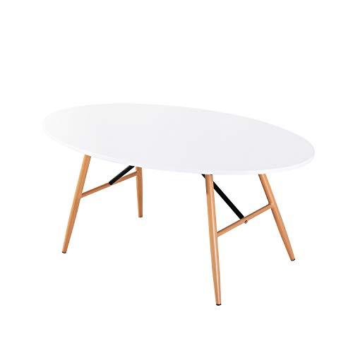 EGGREE Oval Esstisch Weiss Kaffetisch Beistelltisch Massivholz mit Buchenbeine und Einen Eisenrahmen Design für Wohnzimmer Küche, 110 x 60 x 46 cm