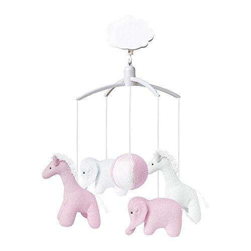 TROUSSELIER - Mobile Musical - Elephant & Girafe - Tissus en Coton Bio - Musique Roméo & Juliette - Classique Chic - Idéal Cadeau de Naissance - Facile à Installer - Colori Vieux Rose & Blanc