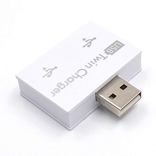 QLING 2-poorts USB 2.0 Hub, Mini USB Hub Draagbare Data Hub, Praktische USB Twin Charger voor telefoon, tablet, computer (wit)