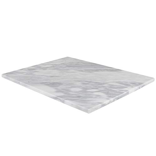 Homeries Marble Pastry Board (12 x 16 Inches) - Marble Serving Tray for Cheese, Pastries, Bread - Large White Fancy Marble Slab for Cake Display Marble – Sleek Design & Non Slip Rubber Feet