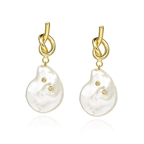WPJ Pendientes de Gota de Perla Vintage chapados en Oro - Nupcial o Todos los días - Pendientes de Gota de Perlas chapadas en Oro para Mujeres Pendientes de Perlas para niñas