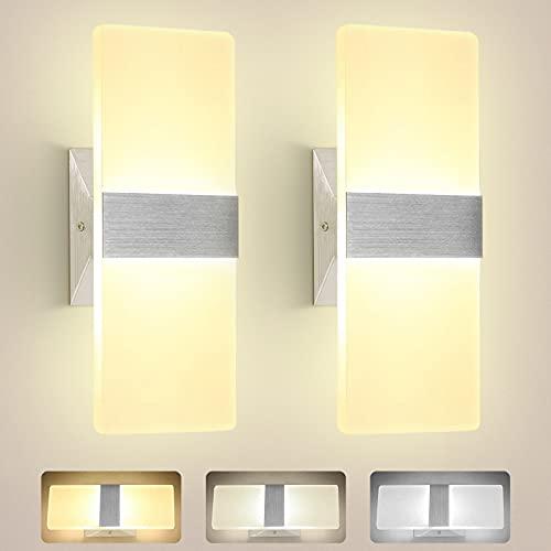 Pack de 2 lámparas LED de pared modernas regulables 3000 – 6000 K Interior 7 W lámparas de pared con función de memoria, iluminación de pared acrílica para salón, dormitorio, escalera, pasillo
