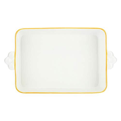 THUN - Teglia Rettangolare con Fiori, per Forno e microonde - Accessori Cucina - Linea Country - Formato Piccolo - Porcellana - 35 x 20 x 6 cm