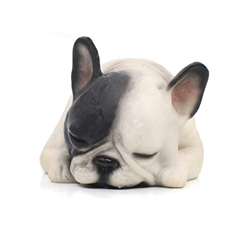 "Comfy Hour Doggyland Collection, Miniature Dog Collectibles 6"" Lying Sleeping French Bulldog Figurine, Realistic Lifelike Animal Statue Home Decoration, Black and White, Polyresin"