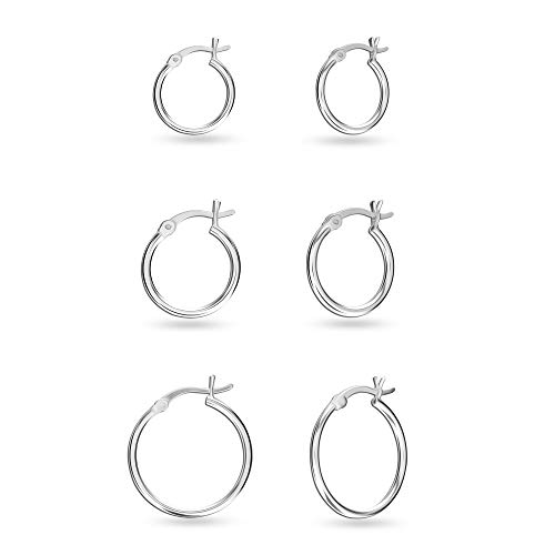 Set of 3 Pair 925 Sterling Silver Click-Top Hoop Earrings for Girl Teen Women 12, 15 and 20 MM