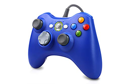 Vinklan Wired Xbox 360 Controller Compatible with Microsoft Xbox 360 & 360 Slim/Windows 7/8/10 (Blud)