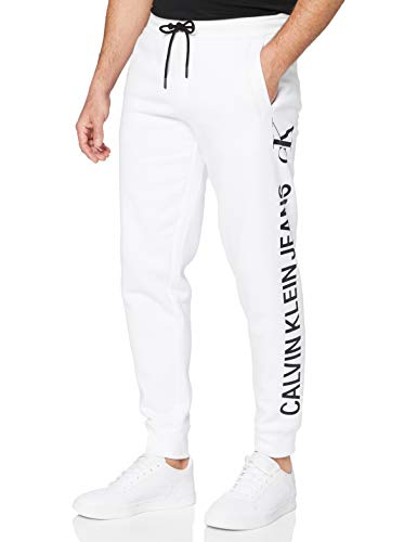 Calvin Klein Jeans CK Vertical Logo HWK Pant Tuta da Ginnastica, Bianco Brillante, XL Uomo