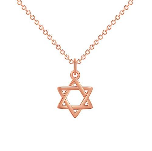 XDY Forma geométrica Simple y de Moda para Mujer Collar de Estrellas de Seis Puntas Cadena de clavícula de Temperamento Cadena de Seis Estrellas Pequeño Colgante,Rose Gold