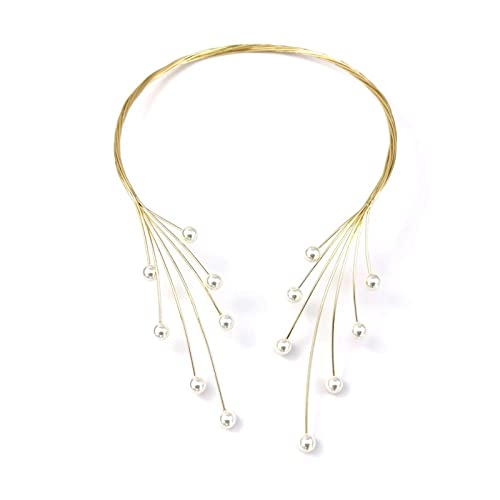 SFQRYP 2021 Handmade Copper Weave Torques Necklaces Women Imitation Pearl Statement Choker Necklaces Charm Wedding Party Jewelry (Metal Color : Gold Necklace)