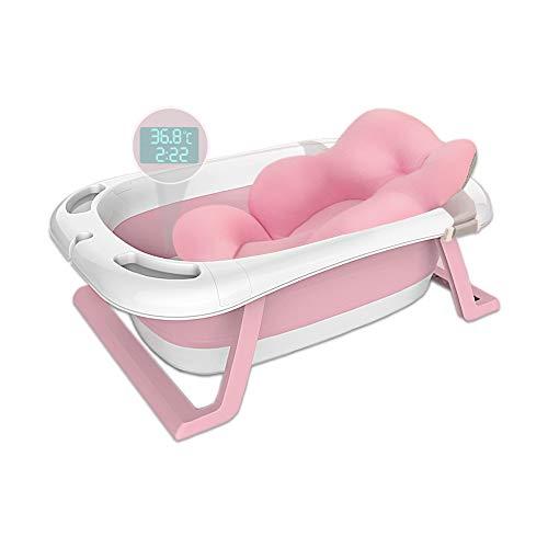Haioo Bañera Plegable Bebé, Bañeras para Bebes de Viaje de 0 a 36 meses (Rosa, Cojín + Termómetro)