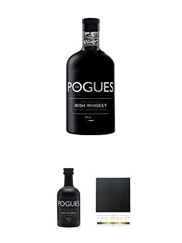 The Pogues Irish Whiskey (schwarze Flasche) 0,7 Liter + The Pogues Irish Whiskey 0,05 Liter Miniatur + Schiefer Glasuntersetzer eckig ca. 9,5 cm Durchmesser