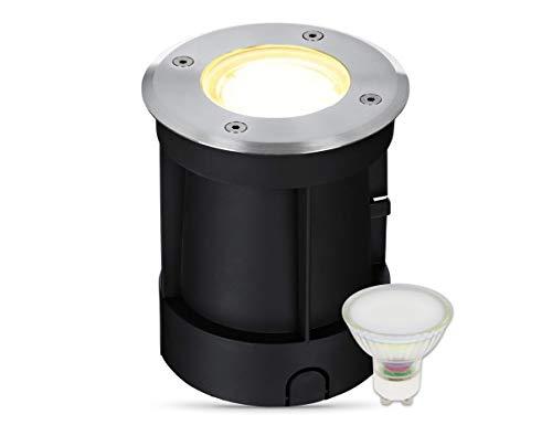 lambado® LED Bodeneinbaustrahler für Aussen IP67 - Wasserdicht & Befahrbar inkl. 3W 230V GU10 Strahler warmweiss - Runder Bodenstrahler/Bodenleuchte aus Edelstahl für Terrasse & Garten
