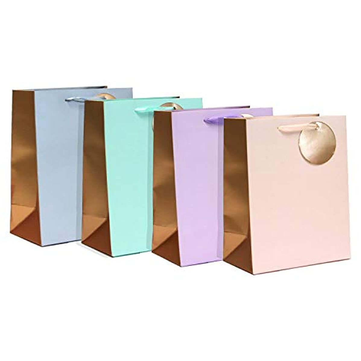 Gift Expressions Medium Size Gift Bags - 3 Set of 4 Color Designs Matte with Metallic Printing Assorted Gradation Color Everyday Gift Bags for Mother's Day, Birthday and Wedding(Bougie, 12 pcs)