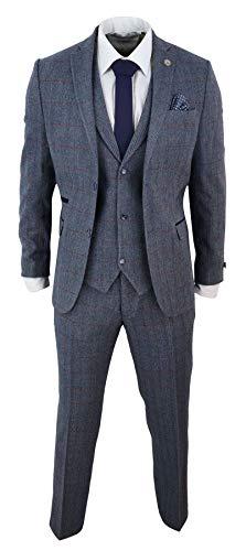 Traje de Lana a Cuadros Tweed de 3 Piezas para Hombre Color Azul Claro 1920s Retro Classic