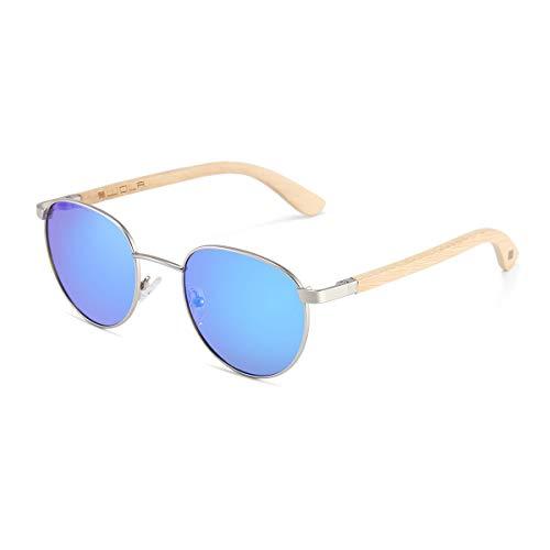 WOLA Sonnenbrille Metallrahmen Holz-Bügle Damen - Sonnenbrille Holz FEU runde Sonnenbrille blau verspiegelt