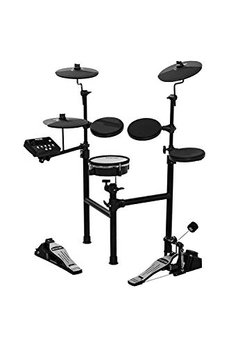 HXW SD61-2 Electric Drum Set Compact 8 Piece Electronic Drum Kit, Dual-zone Mesh Head Snare and Cymbal Pad with Choke, 200+ Sounds, Easy Assemble Rack, Drum Sticks & Drum Key Included