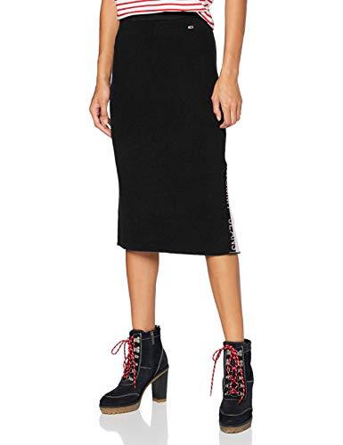 Tommy Jeans Damen Tjw Sweater Skirt Rock, Schwarz, S