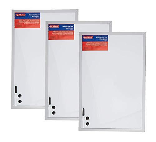 Herlitz 10524627 Whiteboard und Magnettafel (silbernen Holzrahmen, 40 x 60cm) weiß (3 Stück)