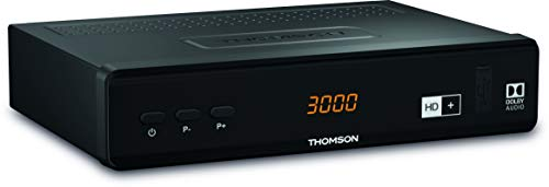 THOMSON THS844 Digitaler HD+ Satelliten Receiver DVB-S2, inkl. HD plus Karte 6M, 3 Jahre Garantie (HDMI, SCART, LAN, USB) schwarz