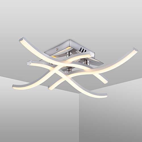 Lámpara de Techo LED, Lampara de Techo, 4 Llamas, 3.000K Blanco Cálido, 24W 1.520Lm, Apariencia de Aluminio, Luz de Techo Moderno para Salas de Estar y Dormitorios (Blanco Cálido, 4 Llamas)