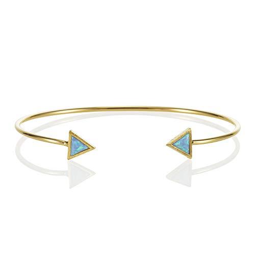 namana Dreieck Opal Armreif, zierliches geometrisches offenes Damenarmband mit synthetischen Opalen, 14 Karat vergoldet oder silberfarbenes Armband für Damen (Vergoldet, Opal)