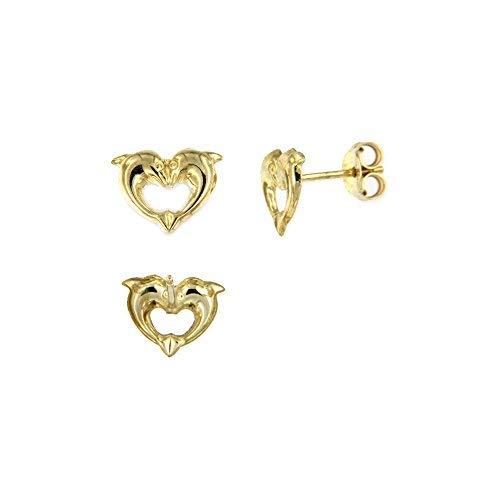 Lucchetta - Pendientes de mujer de oro amarillo de 9 quilates - delfines corazon