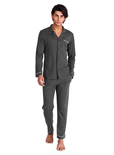 DAVID ARCHY Herren Baumwolle Schlafanzug Nachtwäsche Langarm Shirt und Loungehose mit Knopfleiste und Penis Loch Taschen und Band 1er Pack