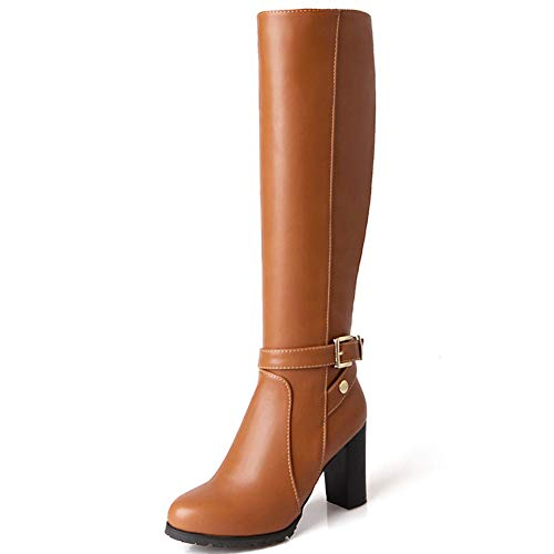 Vimisaoi Women's Elegant Side Zipper Block High Heel Round Toe Dress Combat Black Knee High Boots