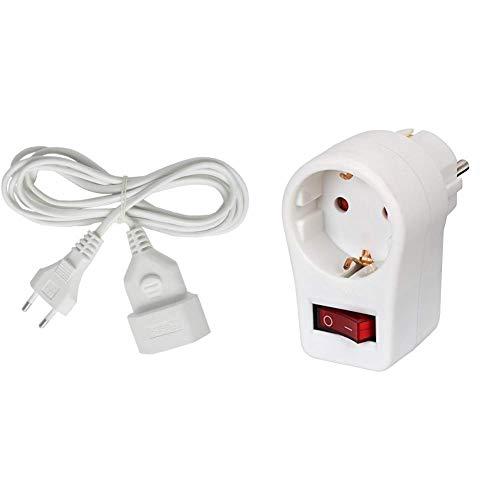 Brennenstuhl Kunstoff-Verlängerungskabel (für den Innenbereich, 3m Kabel, mit Euro-Stecker und Kupplung) weiß & Steckdosenadapter (Schutzkontaktsteckdose mit Schalter) weiß