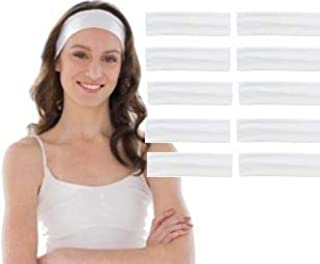 Styla Hair 10 Pack Yoga Headbands - Stretchy Cotton Sports Head Band - White