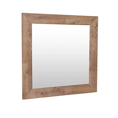 Adec - Natural, Espejo Cuadrado, Espejo de Pared, Marco de Madera de Roble Boreal, Medidas: 70 cm (Alto) x 70 cm (Ancho) x 2 cm (Fondo)
