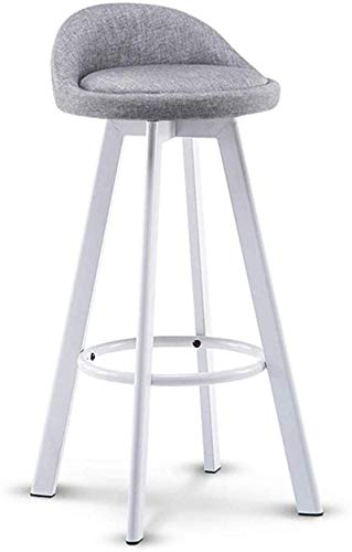 JYV Bar High Stool White Iron Frame Barstools | Imitation Wood Design | Faux Leather Seat | Modern High Chair Kitchen Restaurant (Color : Seat Height 72cm, Size : A)