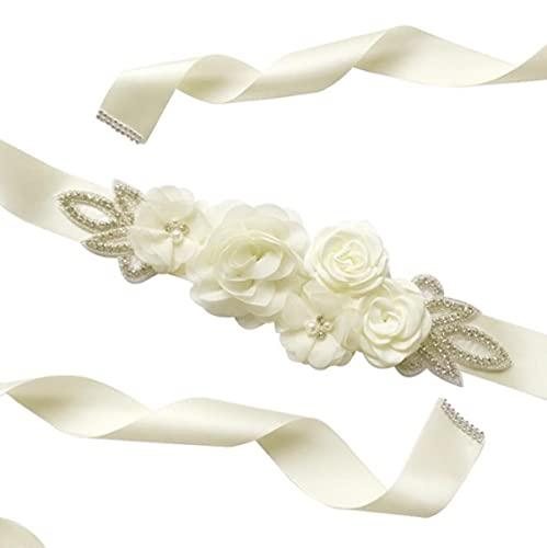 Mujeres Azul Blanco Floral Flor Fajín Diamante de imitación Cinta moldeada Cinturón...
