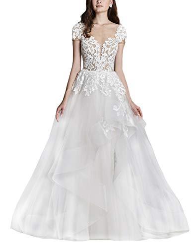 HUINI Brautkleider Damen Lang Prinzessin Hochzeitskleider Spitzen Brautmode Rückenfrei Strand Brautkleider Weiß 48