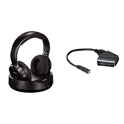 Thomson Funkkopfhörer mit Ladestation (kabellos, Over,Ear, PLL-System, Reichweite 100 m) + Hama Audio Scart Adapter (3,5mm Klinkenkupplung mit TV-Lautsprecherfunktion, ohne TV-Raumtonabschaltung)