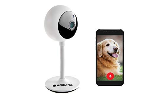 SECURIA PRO Maki 1080p HD Nachtsicht Kamera kompatibel mit Alexa Google Home Uberwachungskamera mit 2 Wege Audio Innen SD Cloud Kamera fur Baby Haustier Weis