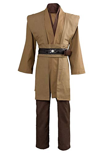 Uomo Costume da Film Fancy Dress Cintura Pantaloni Pantaloni Deluxe Tunica Marrone Cosplay di Halloween per Adulti, M