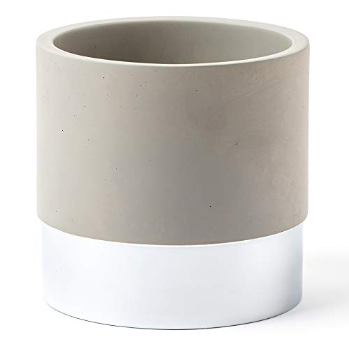 Kitchen Utensil Holder | Weighted Large Steel & Concrete Crock Jar | For Use as Canister, Organizer, Caddy or Planter by ROOM STARTERS (Silver & Concrete)