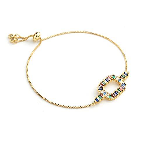 WUGDSQGH Pulsera Mujer Cuadrado Dorado Elegante Pulsera De Diamantes De Imitación De Colores Pulsera De Mariposa Ajustable Pulsera De Arco Iris Mujer